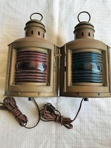 Perko 2 Antique Brass Ships Navigation Sea Lantern By Perkins Marine
