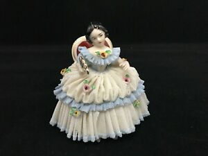 Vintage Dresden Porcelain White Blue Lace Figurine Of Lady In Chair With A Fan