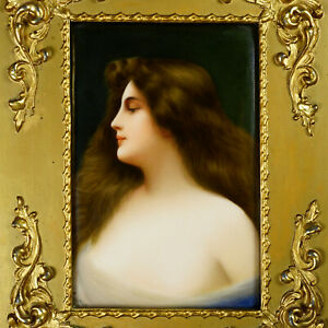 Signed Wagner Hutschenreuther Porcelain Plaque Hand Painted Portrait Asti Lady