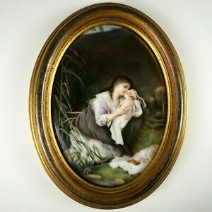 Antique Hand Painted Porcelain Portrait Plaque Mother Infant Baby Mourning