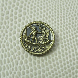 Antique Brass Scene Picture Button Nautical Boy On Boat