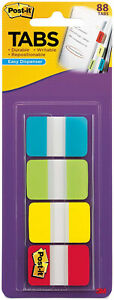 3m Post It Tabs 1 X 1 5 Writable Repositionable 4 Primary Colors 88pk