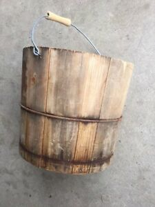 Wooden Bucket With Bail Handle