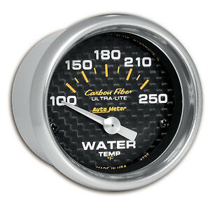 Autometer 4737 Carbon Fiber Water Temp 2 1 16 Gauge 100 250 Deg F Short Sweep