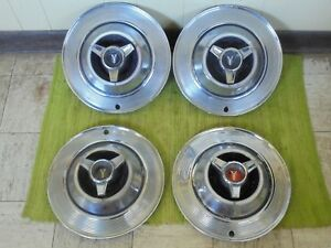 1964 Plymouth Spinner Hub Caps 14 Set Of 4 Mopar Wheel Covers 64 Hubcaps