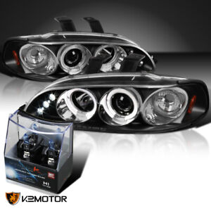 For 92 95 Honda Civic Black Led Halo Projector Headlights H1 Halogen Bulbs