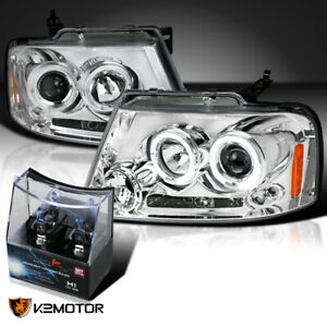 For 2004 2008 Ford F150 Chrome Led Halo Projector Headlights h1 Halogen Bulbs