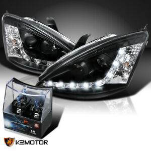 Fit 2000 2004 Ford Focus Black R8 Led Projector Headlights H1 Halogen Bulbs
