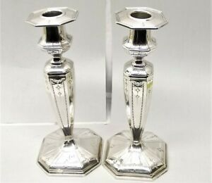 Antique Je Caldwell Co Sterling Silver Candle Holder Candlestick Pair Ornate