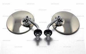 Pair Of 4 25 Round Chrome Lucas Style Wing Door Mirror Stainless Classic Vintag