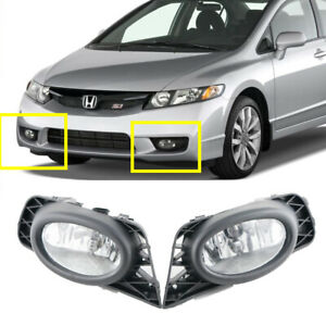 For Honda Civic 4 door 2009 2010 2011 Bumper Driving Fog Lamps White Fog Light