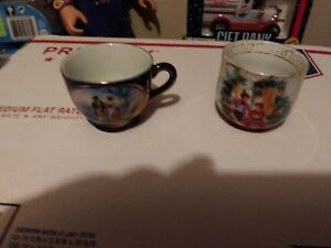 Trio Of Old Tea Cups Oriental Japan Deep Blue Portraits People Smaller Cursive R