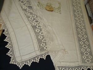 Vtg Handmade Crochet Embroidered Full Coverlet Lace Cotton 84 X 78 Ecru