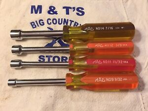 Mac Tools Usa 4pc Sae Nut Driver Set Nd9 Nd11 Nd12 Nd14 9 32 7 16