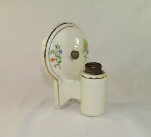 Vintage Porcelain Ceramic Light Fixture Wall Sconce Flowers W Plug Outlet