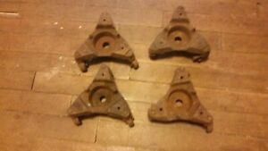 4 Antique Cast Iron Stove Casters Furniture Piano Dolly Barn Art