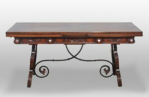 Vintage Spanish Trestle Table With Built In Leaves