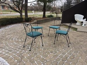 Mid Century Vintage 4 Patio Dining Chairs Woodard