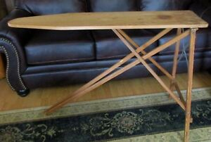 Vintage Antique Wood Ironing Board Table 47x11 5 Folding 96r12 Mid Century