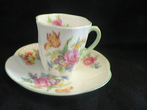 Shelley Tea Cup Saucer Multi Flowers 2 1 2 High 2 1 4 Wide Saucer 5 Inches Demi