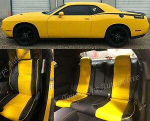 2015 2019 Dodge Challenger Sxt Rt Custom Design Katzkin Leather Seats New Yellow