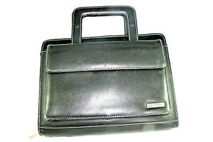Franklin Covey Classic Full Grain Leather Black 7 Ring Binder W Handles Planner