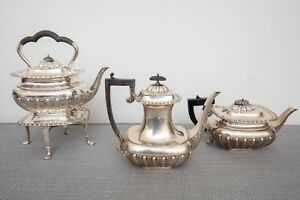 Charles Harrold Co Sterling Silver Tea Set Kettle On Stand Coffee Teapot
