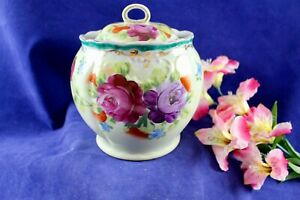 Antique Victorian Hand Painted Roses Porcelain Cracker Biscuit Covered Jar