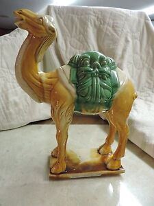 Vintage Sancai Glazed Pottery Camel Beast Face Saddle Brown Green 14 Inch