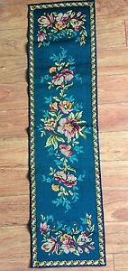Large Antique Italian Wall Hanging Beautiful Wool Tapestry Floral W Border