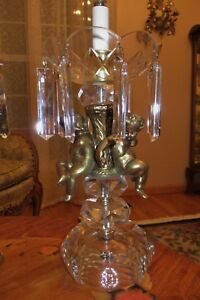 2 Vtg French Style Crystal Cherub Lamps Chandeliers Candelabras Fixtures