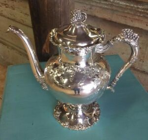 Antique Barbour Silver Plate Teapot Grapes Vines 5336 Hand Chased