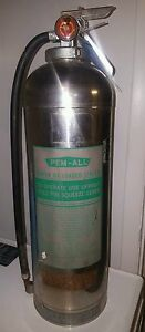 Vintage Pem All Fire Extinguisher Stainless Steel