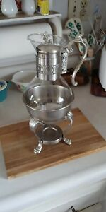 Vintage F B Rogers Silver Plated Glass Coffee Carafe Pot With Warmer Stand