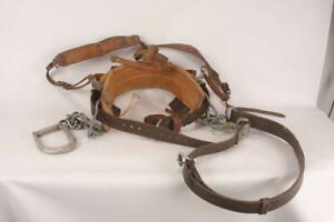 Vintage Klein Tools Leather Lineman s Tower Climbing Belt Harness 1987