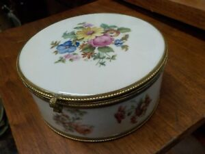 Antique 1900 S Fbs Porcelain Bronze 7 Mirrored Jewelry Floral Hinged Box