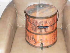 Antique Wooden Firkin Kerosene Oil Bucket Red Paint Wire Bail Handle