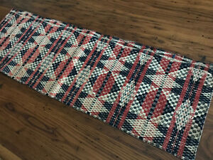 Antique Coverlet Table Top Runner Finished Edge Piece Red Blue White