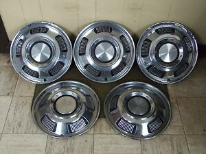 1966 Mercury Hub Caps 14 Set Of 5 Merc Wheel Covers 66 Hubcaps