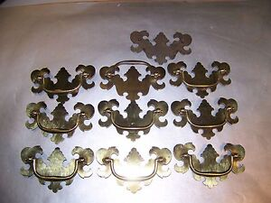 Lot Of 10 Brass Drawer Hardware Pulls New Old Stock