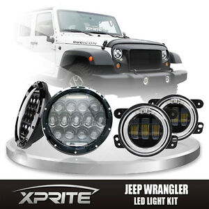 7 75w Cree Led Headlights Drl With Fog Light Red Halo Combo For 07 18 Jeep