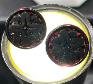 Antique Victorian Ruby Red Glass Buttons With Molded Design Set Of 2