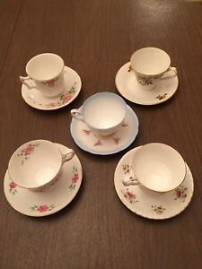 Vintage Lot Of 5 Fine Bone China Tea Cup And Saucer Sets Made In England Floral