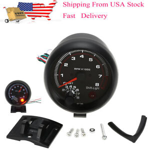3 75 Car Universal Tachometer Tacho Gauge White Inter Shift Light 0 8000 Rpm