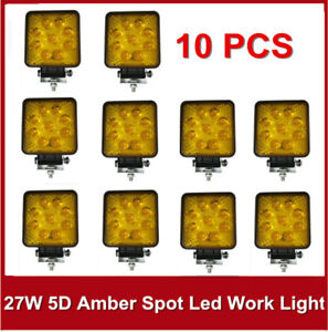 5d 10x 27w Led Work Light Spot 4 Amber Square Fog For Jeep Offroad Boat Yellow