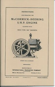 Mccormick Deering 1 1 2 H p Gas Engine Instruction Manual
