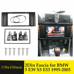 2 Din Radio Fascia For Bmw 5 Series E39 X5 E53 Stereo Panel Dash Trim Kit Frame