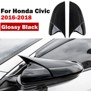 2x Carbon Fiber Rear Rearview Mirror Cover For Honda Civic Sedan Coupe 2016 2019