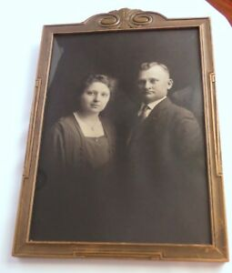 Antique Photo Beautiful Serious Somber Couple In Art Deco Wood Frame W Glass