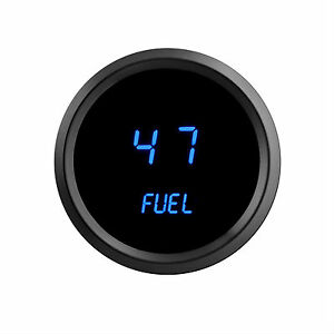 2 1 16 Universal Digital Fuel Gauge Blue Leds Black Bezel Lifetime Warranty